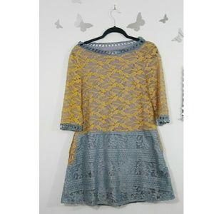 beautiful plus size two-tone lace dress